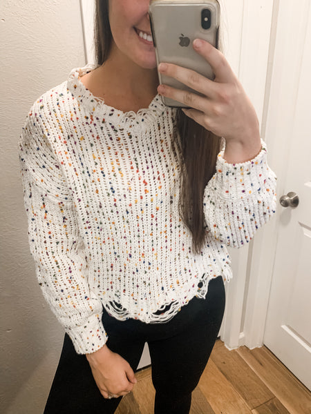 Distressed Confetti Cutie Sweater: Multi