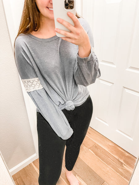 CURVY Dainty Darling Top: Charcoal