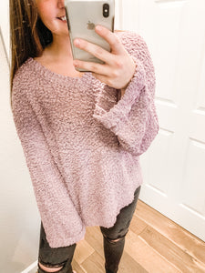Lets Cozy Up Sweater: Dusty Lavender