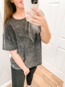 Cute But Comfy Tee: Washed Black