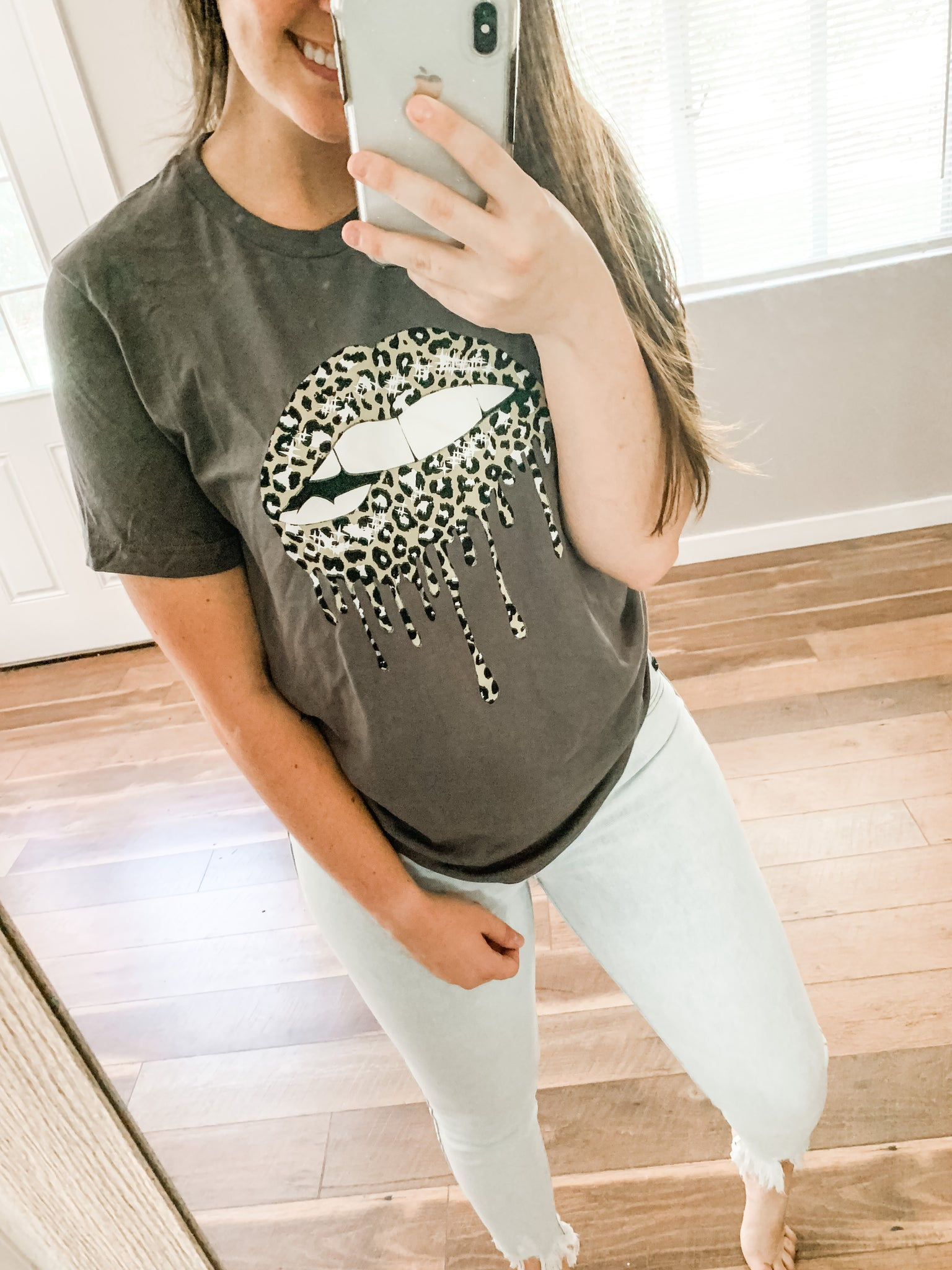Dripping in Leopard Tee: Charcoal