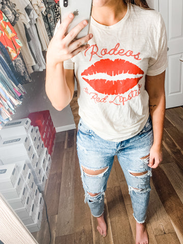 Rodeos and Red Lipstick Tee: White