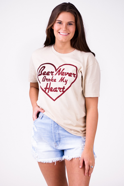 Beer Never Broke My Heart Tee: Cream