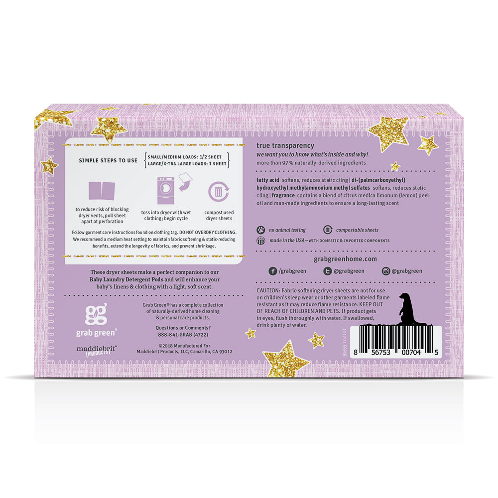 Baby Dryer Sheets {5+ months} - Dreamy Rosewood - 3 Pack