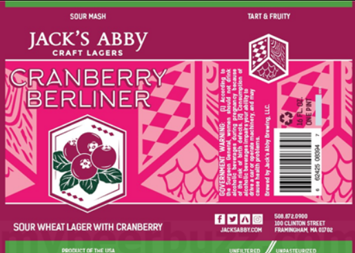 "Jack's Abby Craft Lagers ""Cranberry Berliner"" Sour Wheat Lager"