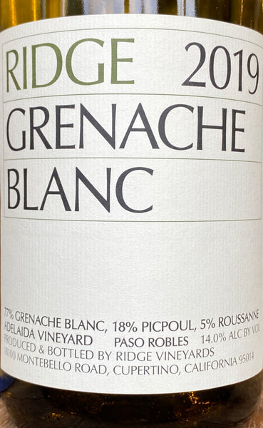 Ridge Vineyards Grenache Blanc, 2019