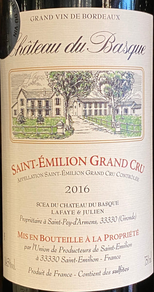 Chateau du Basque Saint-Emilion Grand Cru, 2016