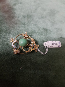Willis and Sons MEL c1900 9ct and Chrysoprase brooch #122