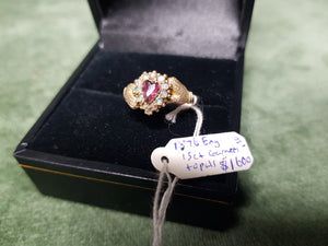 c1876 Regard Ring 15ct Gold Garnets and Opals #130