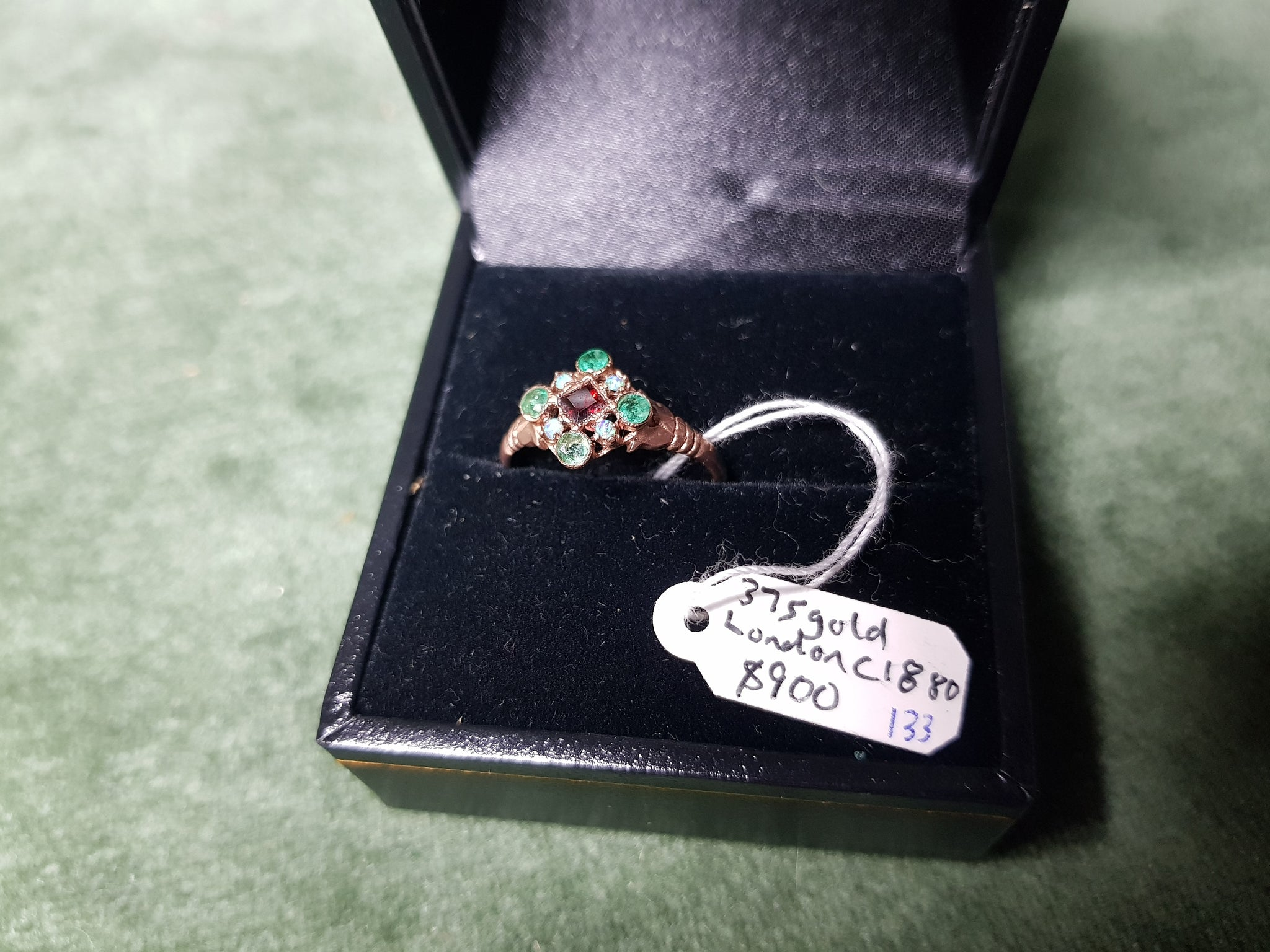 c1880 London 375 Gold, Emeralds, Garnets and Opals ring #133