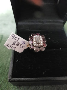 c1923 9ct Gold, Garnets, Crystal Seed Pearls ring #154