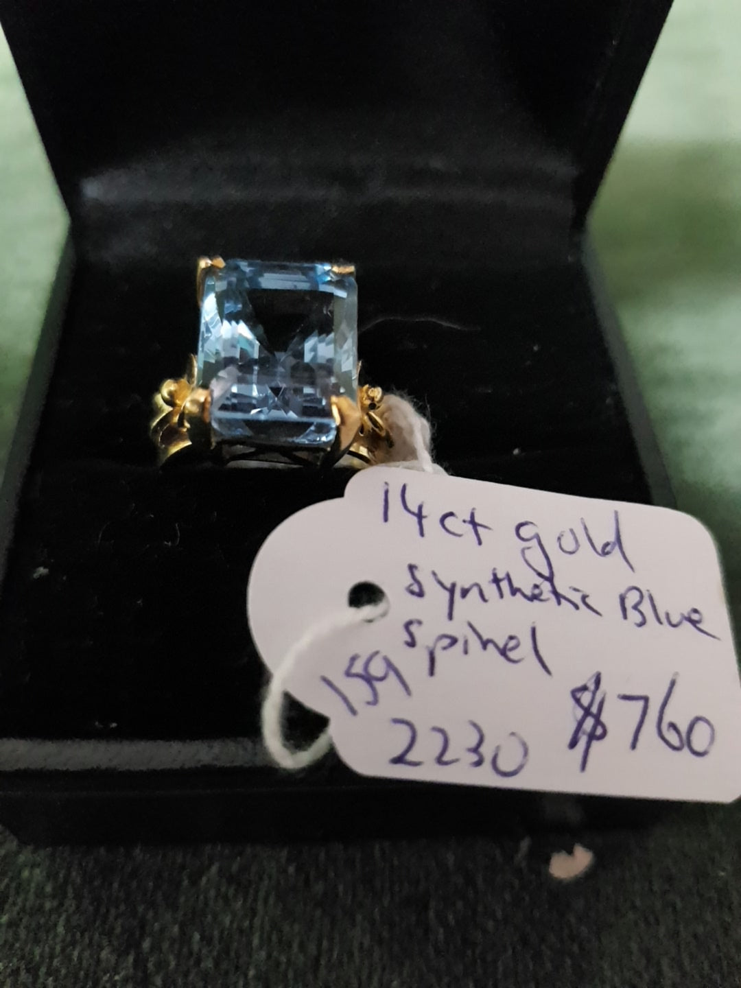 14ct Gold and synthetic blue Spinel ring #159