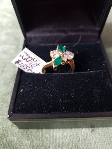 c1990 18ct Gold, Diamonds and synthetic Emeralds ring #166