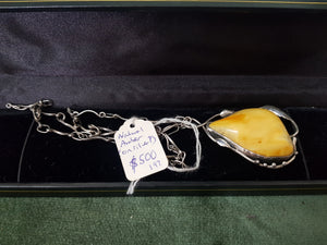 Natural Amber pendant on ? Silver chain #197