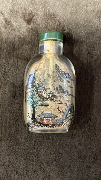 19th Century Qing Glass Inside Painted Snuff Bottle and Nephrite Stopper