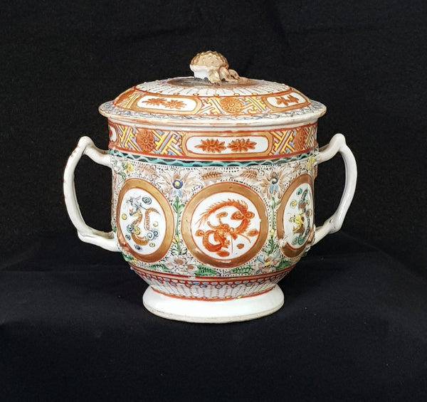 Famile Rose & Gilt Chinese Porcelain Lidded Pot c1900-1920 [BD008]