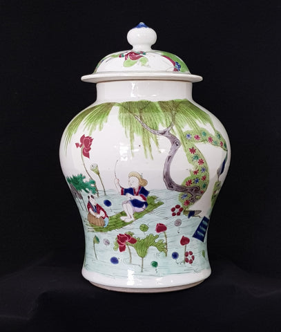 Famile Verte Covered Jar late C19th China Porcelain