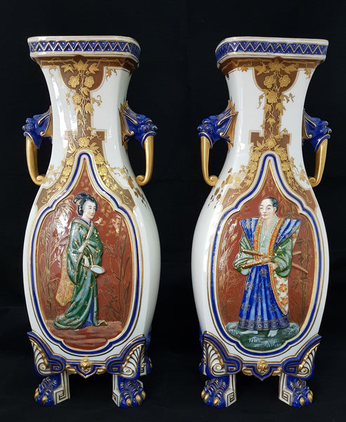 "Royal Worcester Pair of Porcelain Vases ""Pagoda Vase"" shape 396"