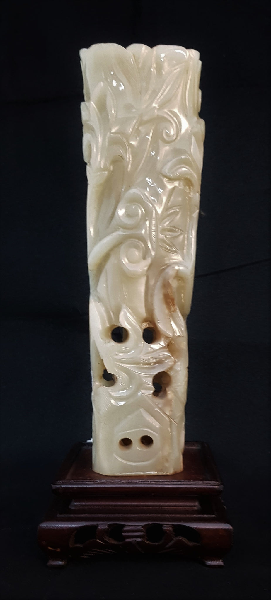 Asian Nephrite Jade & Wood Sculpture c1950 [BD030]