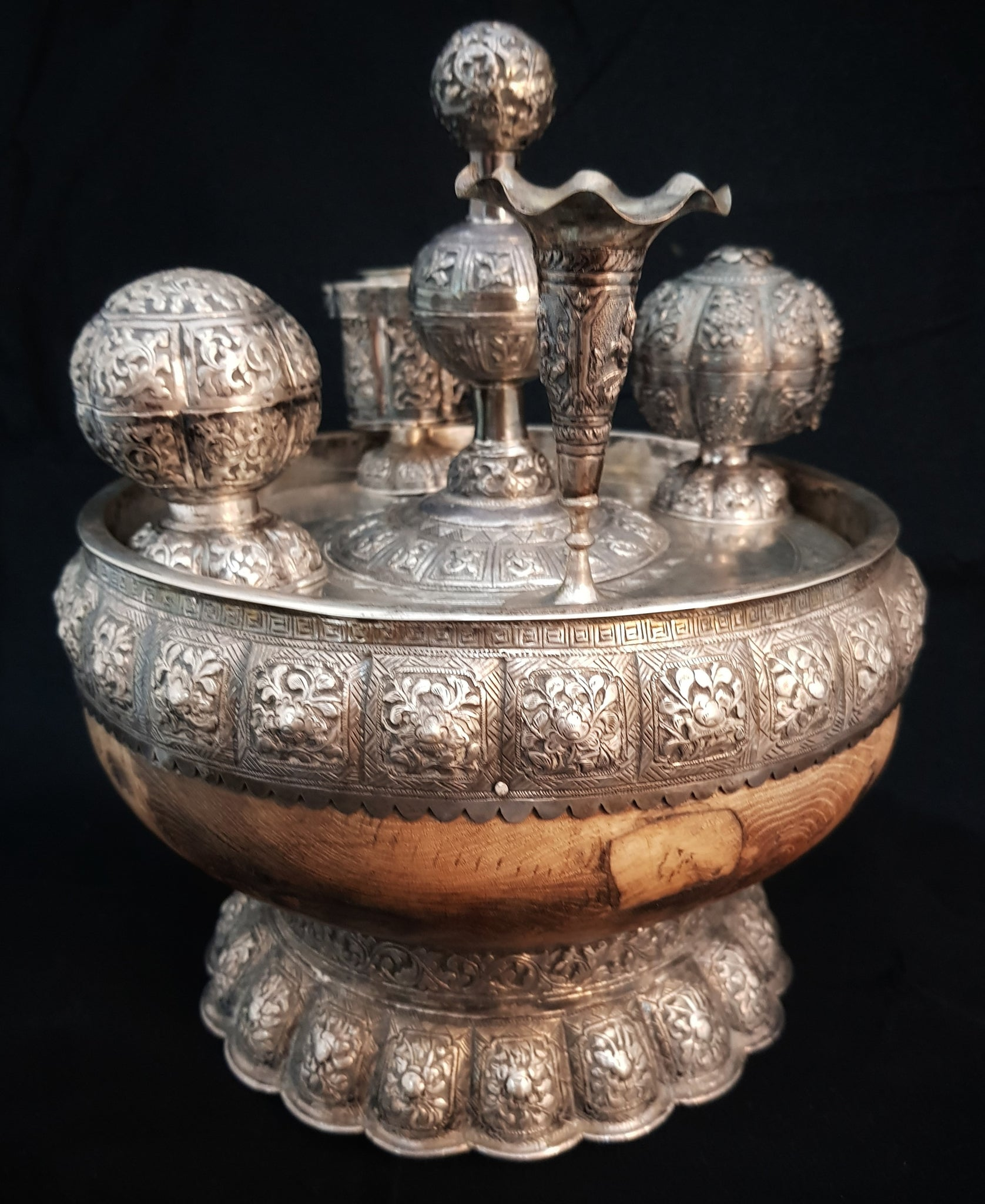 South East Asian Silver & Wood Betel Nut Bowl