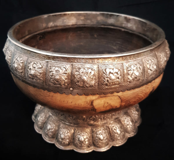 South East Asian Silver & Wood Betel Nut Bowl & Accessories c1890 [BD033]