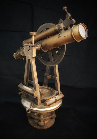 "Brass Theodolite retailed by ""Brush & Drummond"" Melbourne"