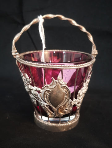 William Wikthers London Silver & Ruby Glass Basket