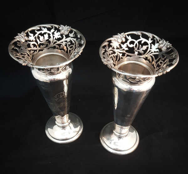 London Sterling Silver Vase c1910 (price for pair) [BD064]