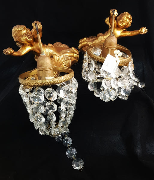 Pair of Crystal and Plaster Cupid Lights