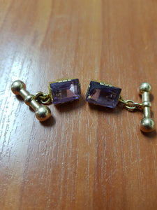 Pair 15ct Gold Cufflinks w/ 1x 4.5ct Amethyst 9ct Dumbell Fittings c.1940