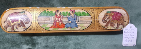 Indian painted + gilded pencil case Early c20th Bone 23.5cm long 4.5cm high 4.6cm wide #59