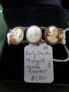 Early C20th 14ct Gold and cameo bracelet #291