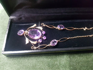 c1900 9ct Gold and Amethyst necklace #302