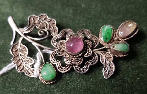 c1930 Chinese Silver (low grade) brooch with Jade and Rose Quartz #350