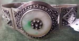 c1940 Chinese Silver and Jade bracelet #485