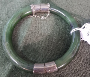 c1940 British Columbia Nephrite Jade and Silver plate bangle #486