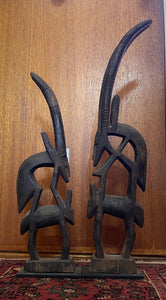 Early-Mid C20th pair African wooden Bamana antelope carvings, Mali #488