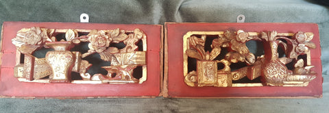 c1890 Pair Qing dynasty gilded wood carvings 25cm long 11.5cm across 4cm deep #94