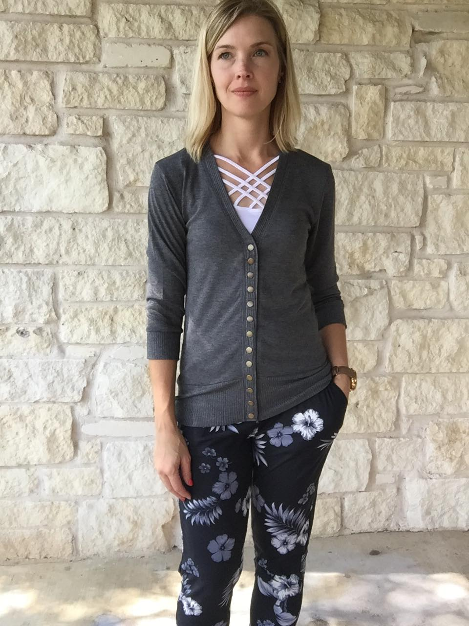 So Basic Snap Cardigan - Charcoal