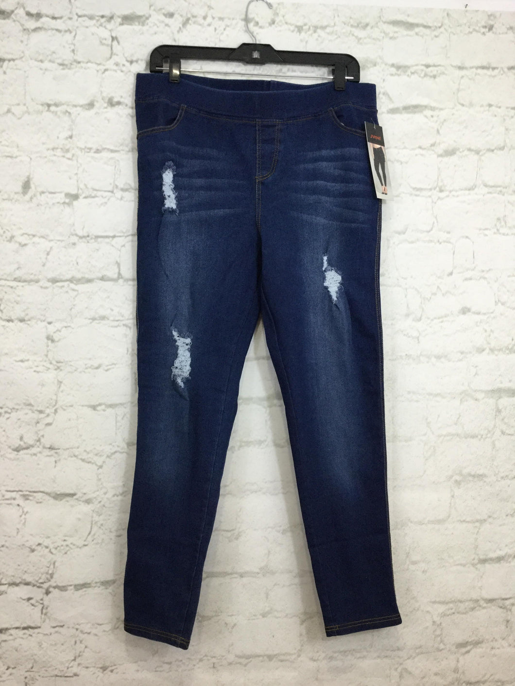 Distressed Dark Wash Plus Size Jeggings