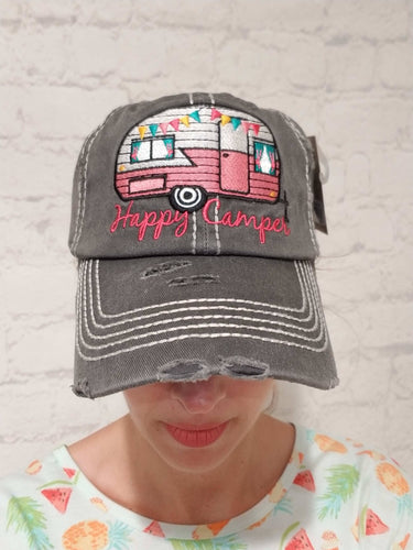 Distressed Happy Camper Hat