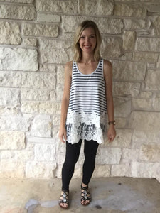 Striped Tunic Tank with Lace