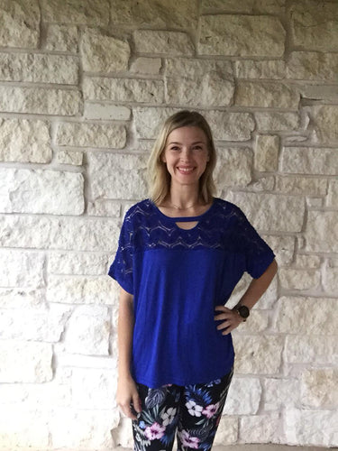 Cobalt Crochet Neck Top