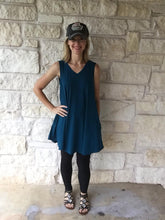 Summer Stretch Tunic V-neck Neck Ocean Blue
