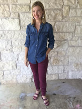 Moto Jeggings with Pockets - Plum