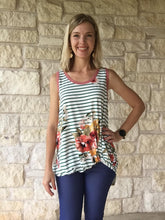 Gingersnap Tank - High Low Buttery Soft Stripes and Floral