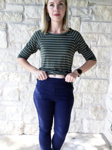 Moto Jeggings with Pockets - Navy