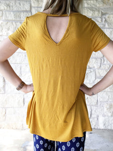 Keyhole High Low Tee - Gold