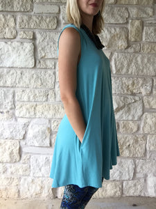 Summer Stretch Tunic V-Neck Turquoise