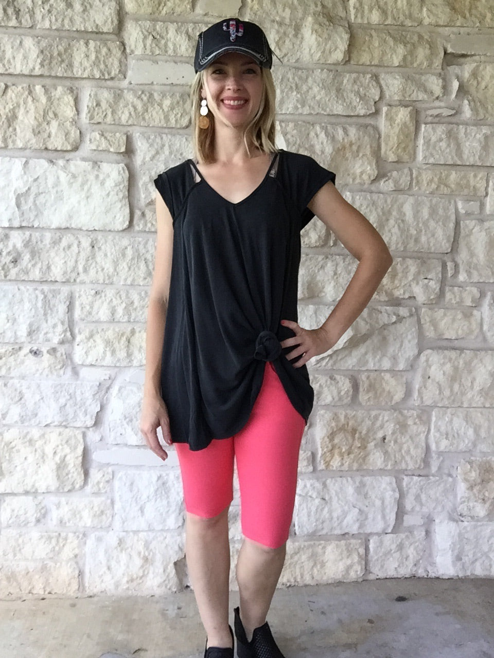 Spicy Coral Jegging Bermuda Shorts